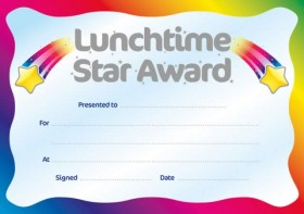 Metallic 'Lunchtime Star Award' certificate | School Merit ...