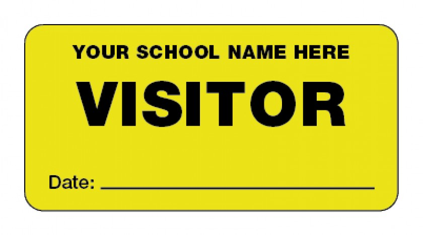 Personalised yellow visitor stickers 60x30mm school merit stickers