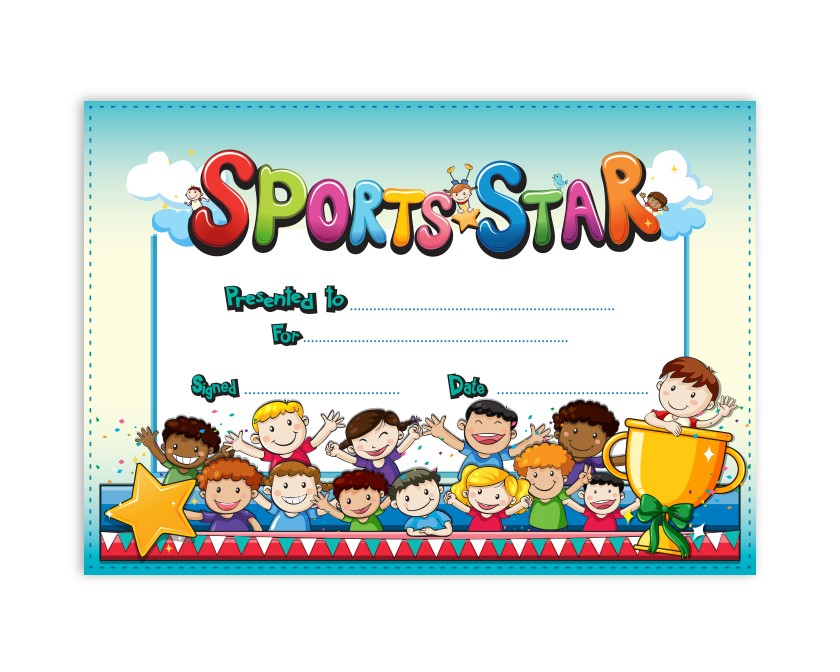 Kids Sports Star Certificate School Merit Stickers