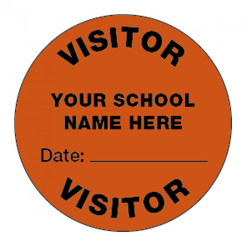 Personalised red visitor stickers 44mm school merit stickers