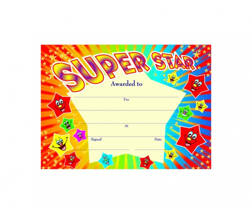Free Printable Super Star Certificate Template This Blank ...